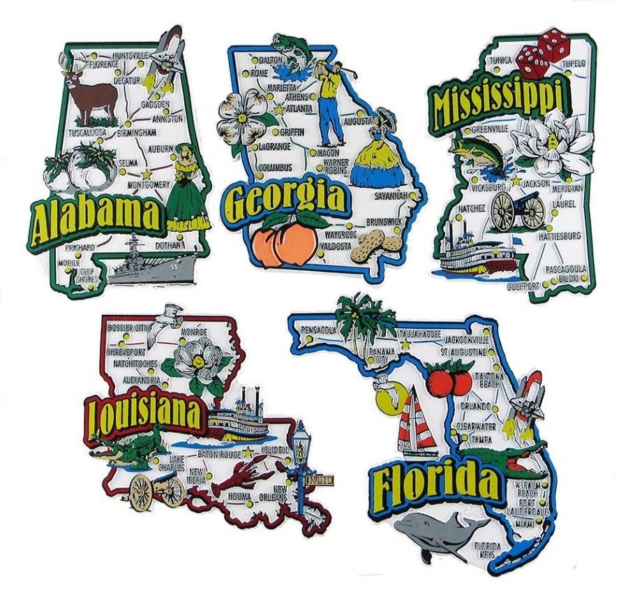 State Fridge Magnets Souvenir Alabama Florida Georgia Louisiana Mississippi