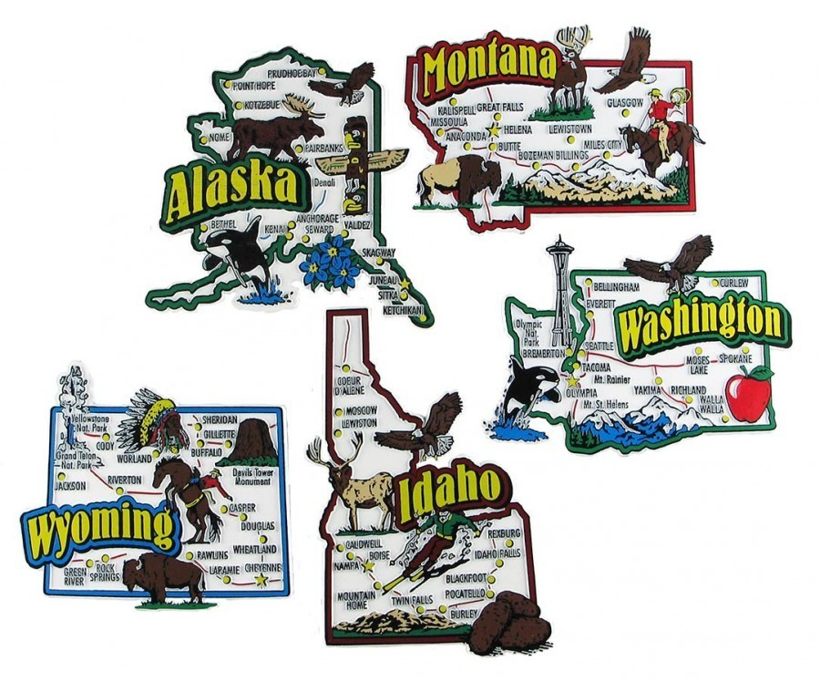 State Souvenir Magnets Alaska Idaho Montana Washington Wyoming