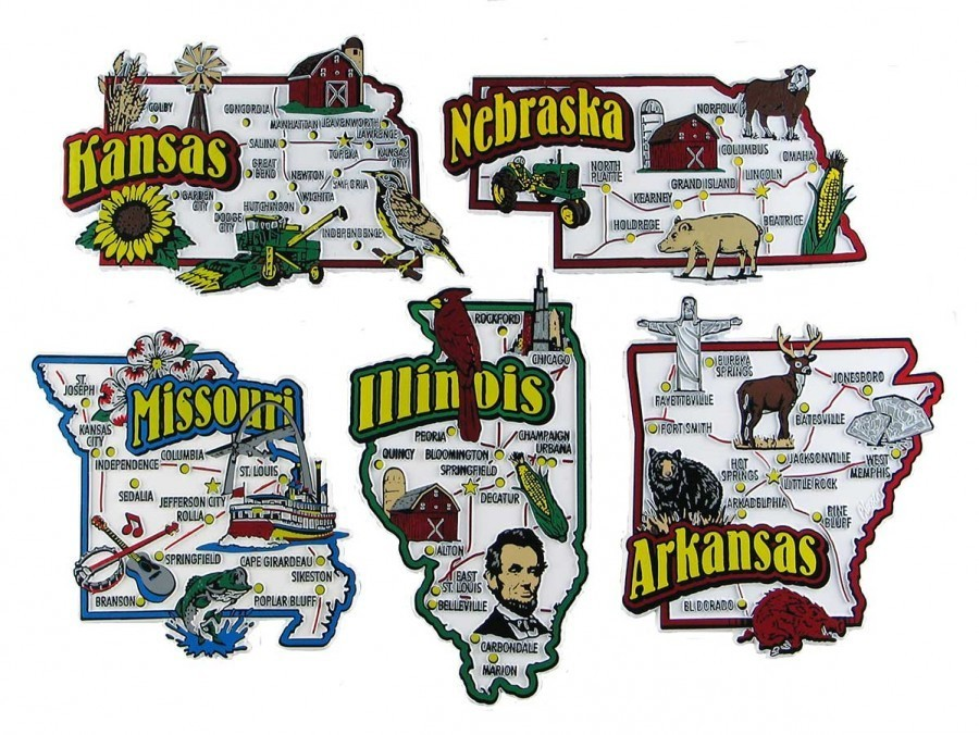 Souvenir State Magnets Arkansas Illinois Kansas Missouri Nebraska
