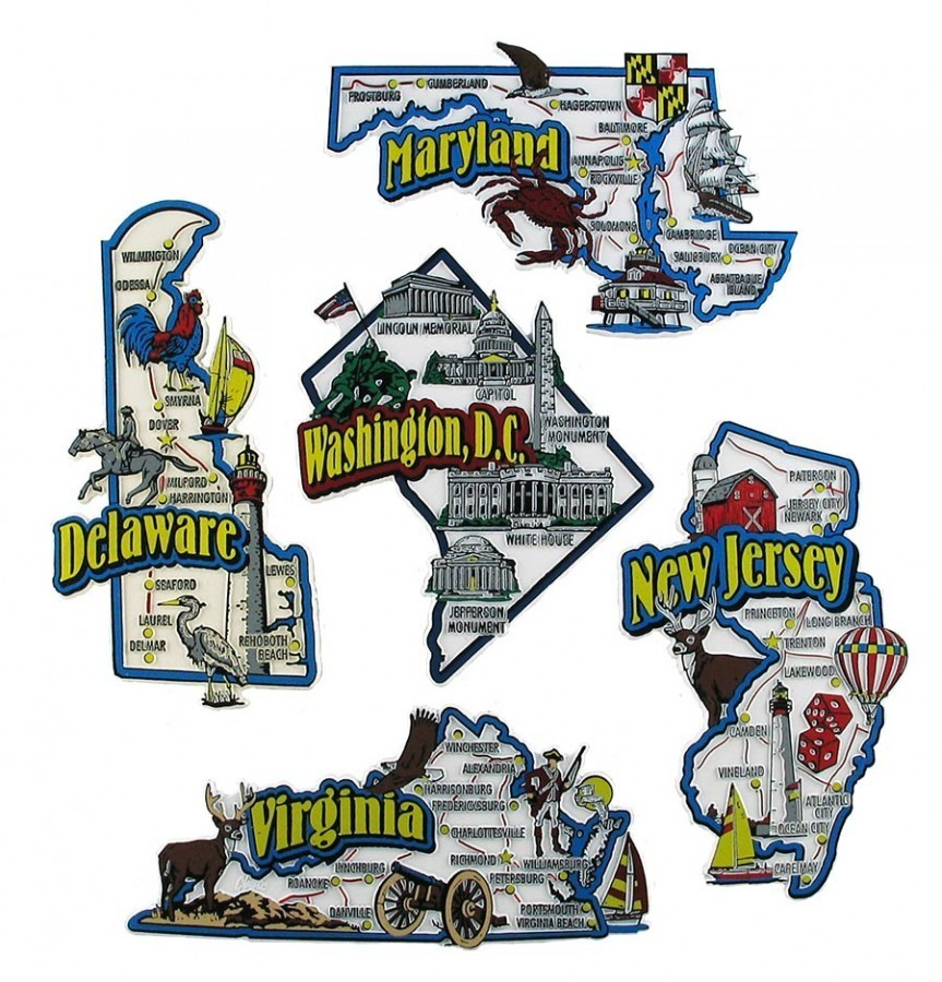 State Fridge Map Magnets Delaware Maryland New Jersey Virginia Washington DC