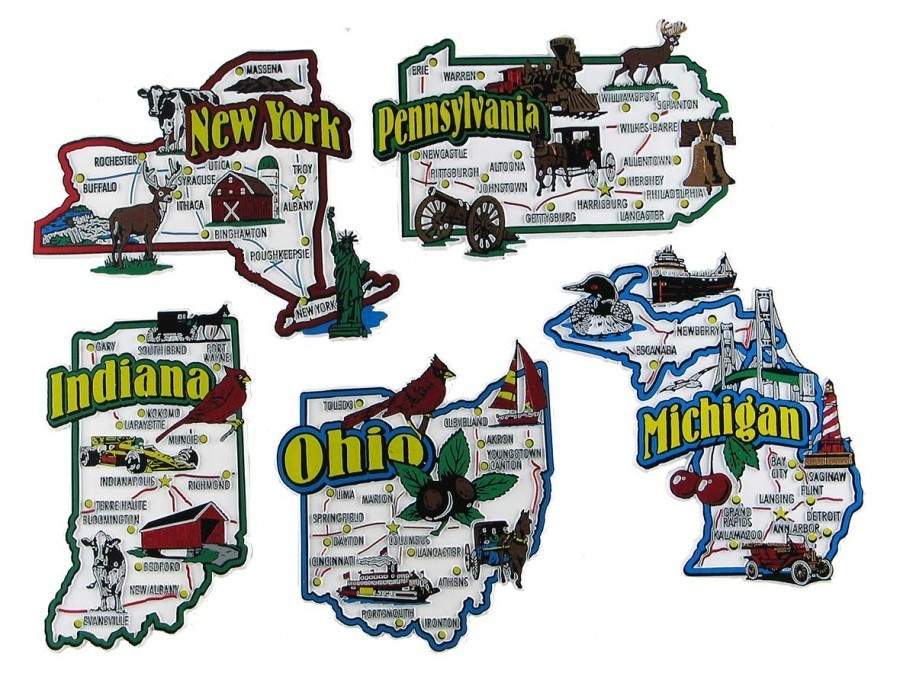State Magnets Indiana Michigan New York Ohio Pennsylvania