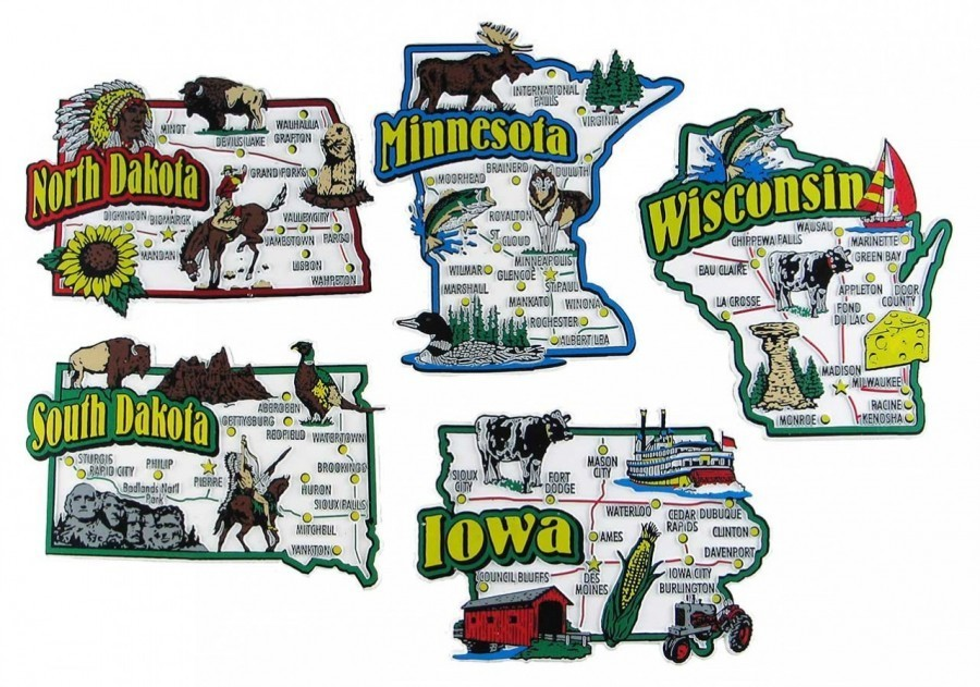 State Magnets Iowa Minnesota North Dakota South Dakota Wisconsin