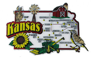 USA map state magnet - KS