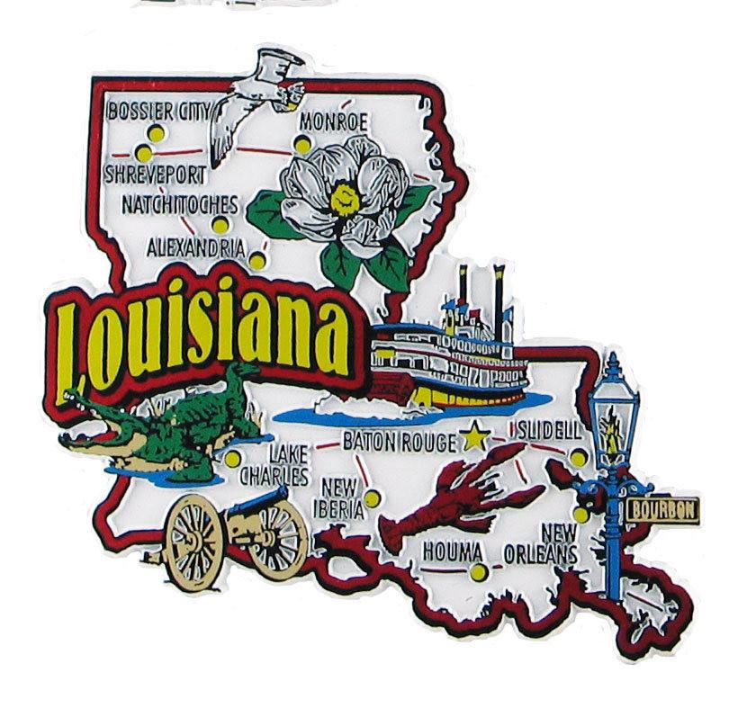 Louisiana USA Souvenir Map State Magnet
