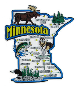 USA map state magnet - MN