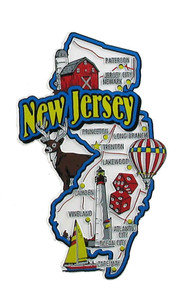 USA map state magnet - NJ