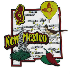 New Mexico USA Map State Magnet Magnetic Maps Of States USA - Mexico and usa map