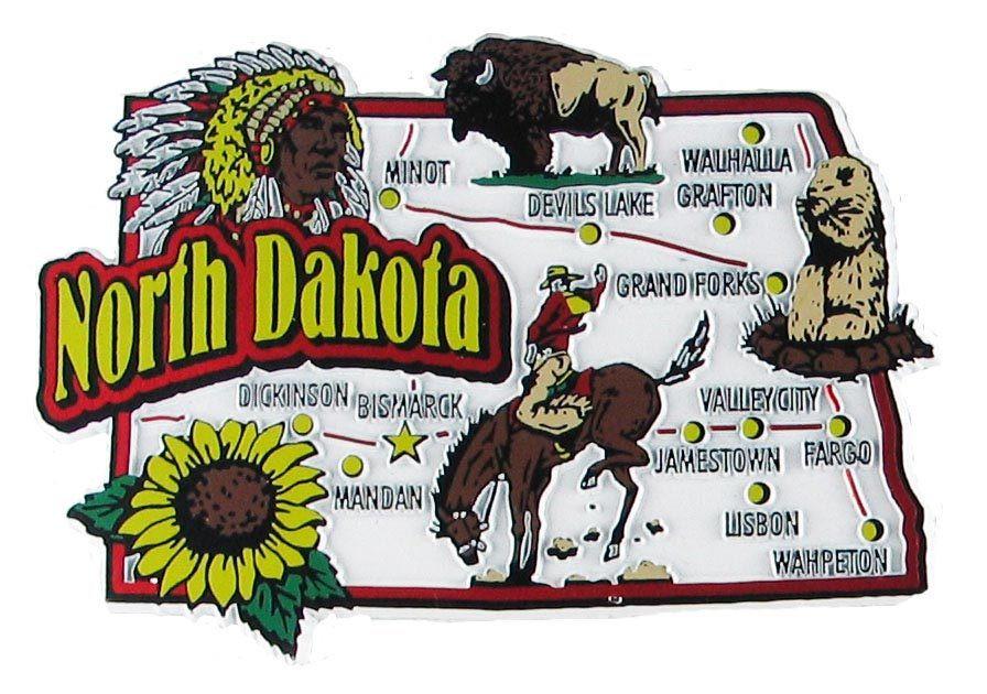 North Dakota USA Map State Magnet: Magnetic Maps of 50 US States