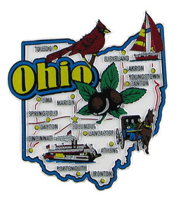 Ohio USA Map State Magnet Magnetic Maps Of All States USA - Usa map cartoon