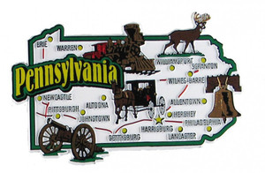 USA map state magnet - PA
