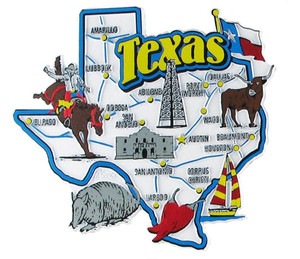 USA map state magnet - TX