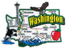 USA map state magnet - WA