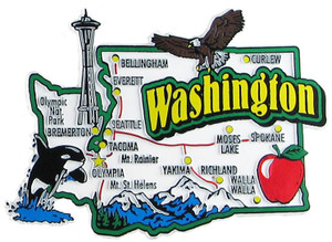 Washington USA Map State Magnet Magnetic Maps Of States USA - Map of the state of washington usa