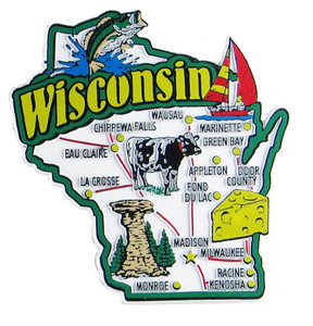 Wisconsin USA Map State Magnet Magnetic Maps Of States USA - Wisconsin map usa