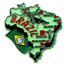 Brazil country shaped magnetic map