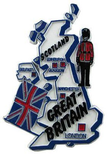 Great Britain country shaped magnetic map