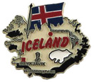 Iceland country shaped magnetic map