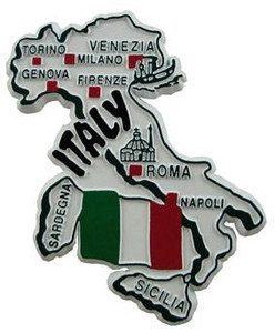 Italy country shaped magnetic map