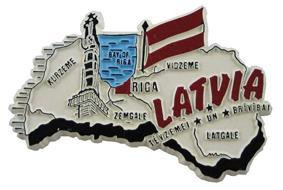 Latvia country shaped magnetic map