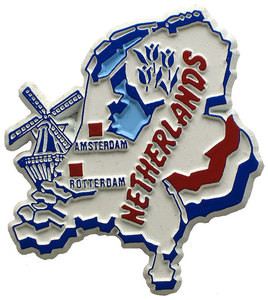 Netherlands country shaped magnetic map