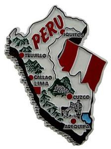 Peru country shaped magnetic map