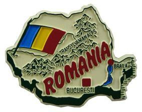 Romania country shaped magnetic map