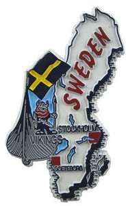 Sweden country shaped magnetic map