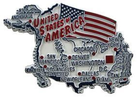 USA country shaped magnetic map