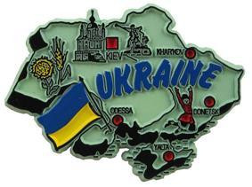 Ukraine country shaped magnetic map