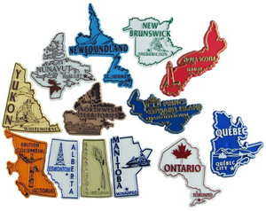 Canadian provinces/territories shaped magnets