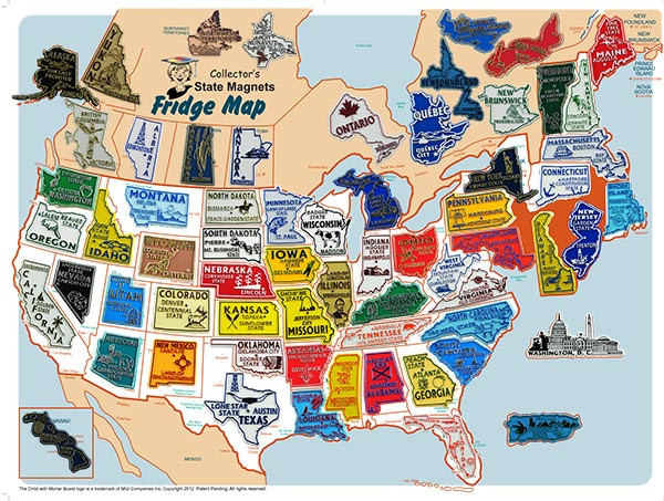 US/Canada State Magnet Set and Map Collector\'s Board (65 magnets)