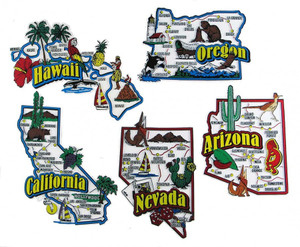 ArizonaCaliforniaHawaiiNevadaOregon USA Map State Magnets - Oregon in the usa map