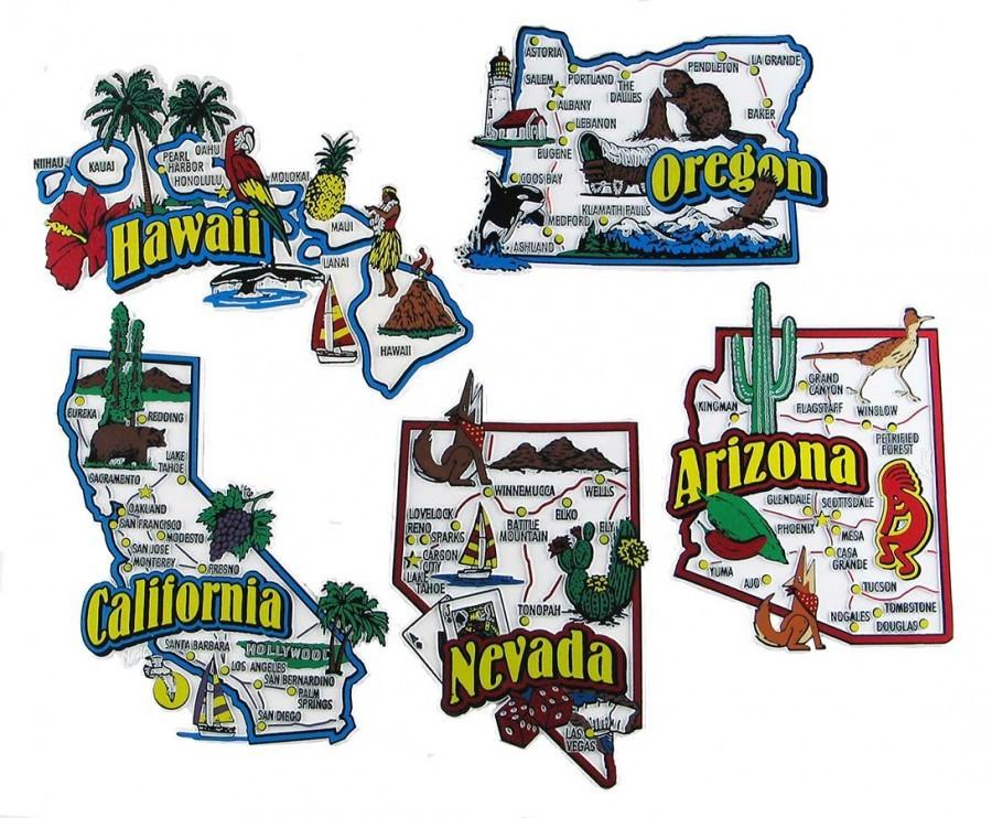 Map Of Nevada And Arizona Usa.Arizona California Hawaii Nevada Oregon Usa Map State Magnets