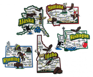AK, ID, MT, WA, WY map state magnets