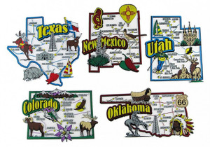 CO, NM, OK, TX, UT map state magnets