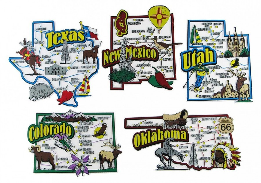 Map Of Texas New Mexico And Colorado.Colorado New Mexico Oklahoma Texas Utah Usa Map State Magnets
