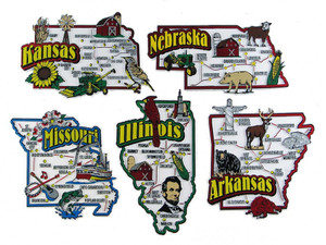 AR, IL, KS, MO, NE map state magnets