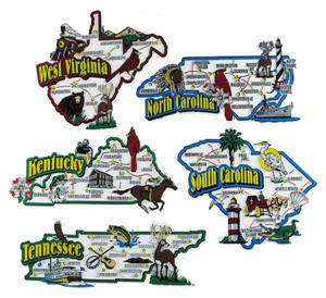 KY, NC, SC, TN, WV map state magnets