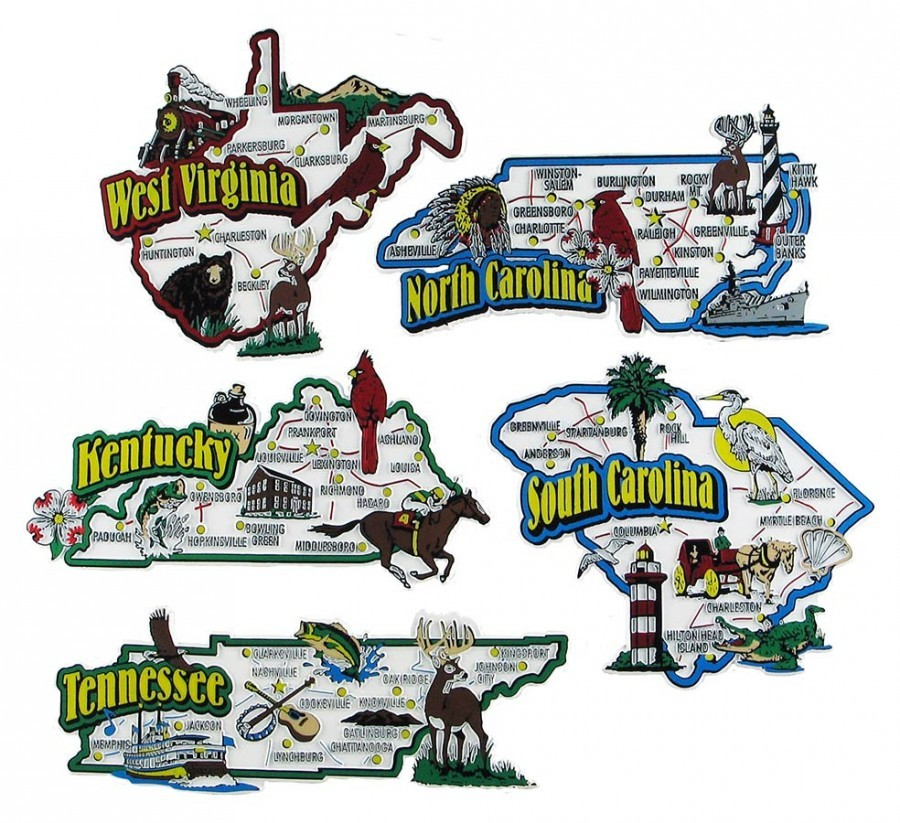 KY-NC-SC-TN-WVA: Large, colorful USA Souvenir Map State Magnets on kentucky map outline, kentucky map 3d, kentucky map coloring sheets, kentucky map clipart, kentucky state bird cartoon, kentucky derby cartoon, kentucky map drawing, home cartoon,