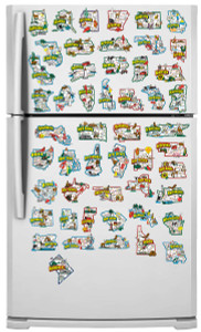 USA state map refrigerator magnets
