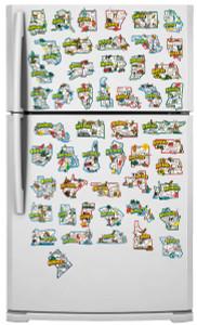 USA state map refrigerator magnets