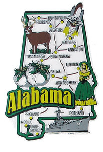Alabama USA Map State Magnet Magnetic Maps Of All States USA - Alabama on map of usa