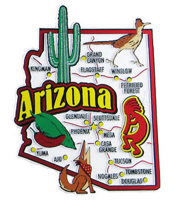 USA map state magnet - AZ