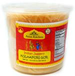 Asian Kitchen Kolhapuri Gur (Jaggery) 500g (17.5oz) PET Jar ~ Unrefined Cane Sugar, No Color added, Gluten Friendly | Vegan | NON-GMO | No Salt or fillers