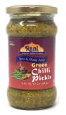 Rani Green Chilli Pickle Hot (Achar, Spicy Indian Relish) 10.5oz (300g) ~ Glass Jar, All Natural | Vegan | Gluten Free | NON-GMO | No Colors | Popular Indian Condiment, Indian Origin
