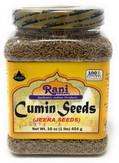 Rani Natural Cumin Seeds Whole (Jeera) Spice 16oz (454g) 1lb PET Jar ~ Gluten Free Ingredients   NON-GMO   Vegan   Indian Origin