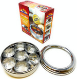 Rani Spice Box Stainless Steel Transparent Round Storage For Spices (Masala Dabba) 7 Compartments, with spoon (7.5in x 2.8in) ~ Packed in an attractive box, perfect for gifts!