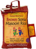 Asian Kitchen Brown Sona Masoori Aged Rice 4lbs Pound Bag (1.81kg) Short Grain Rice ~ All Natural | Gluten Free | Vegan | Indian Origin | Export Quality