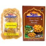 Rani Pani Puri Coins 7oz (200g) (Indian Water Balls) with Pani Puri Masala 3.5oz (100g) (14-Spice Blend for Indian Spicy Water) ~ All Natural | Vegan | NON-GMO