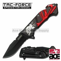 "Tac Force TF-792SR 8.25"" Flaming Skull Spring Assisted Knife"